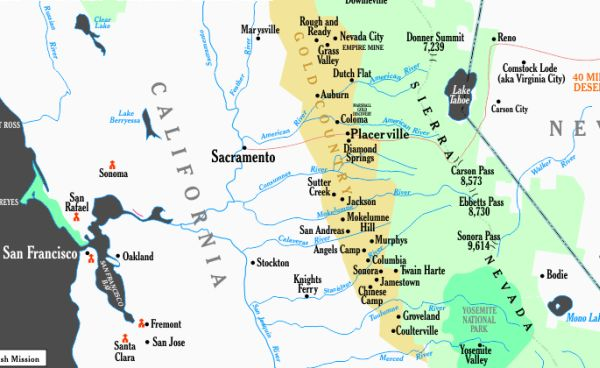 Map Of California Gold Country.History In The California Gold Country
